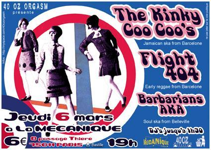 Concert Ska Rock Steady avec The Kinky Coo Coo's, Flight 404 et Barbarians AKA