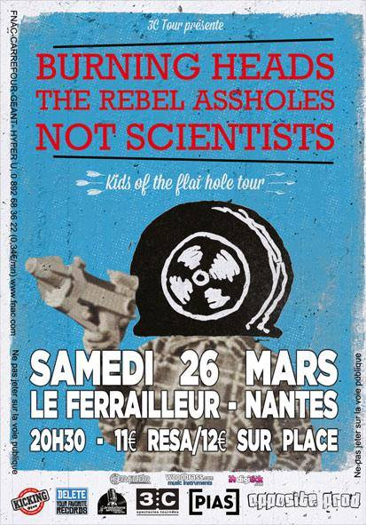 Burning Heads + The Rebel Assholes + Heavy Heart au Ferrailleur le 26 mars 2016 à Nantes (44)
