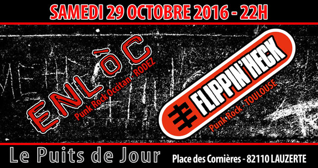 enl c flippin 39 heck le 29 octobre 2016 lauzerte 82 razibus concerts punk ska hardcore. Black Bedroom Furniture Sets. Home Design Ideas