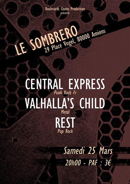 Rest // Central Express // Valhalla's Child au Sombrero Café le 25/03/2017 à Amiens (80)
