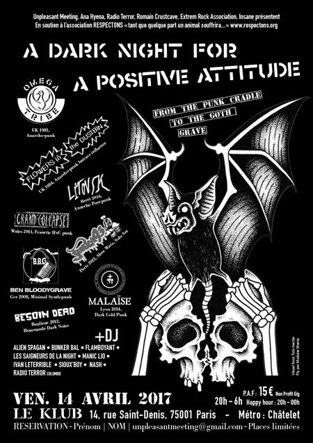 A DARK NIGHT FOR POSITIVE ATTITUDE 8 BANDS 10 DJS le 14 avril 2017 à Paris (75)