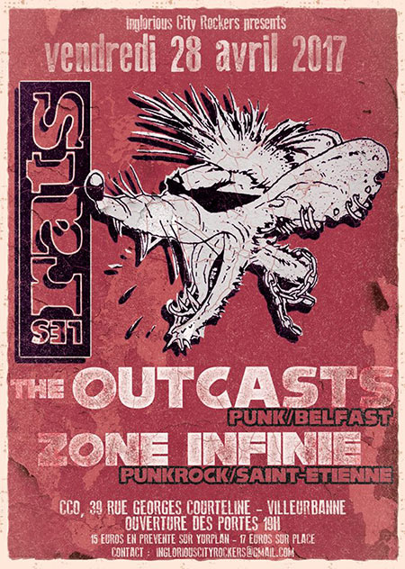 Les Rats + The Outcasts + Zone Infinie au CCO le 28 avril 2017 à Villeurbanne (69)