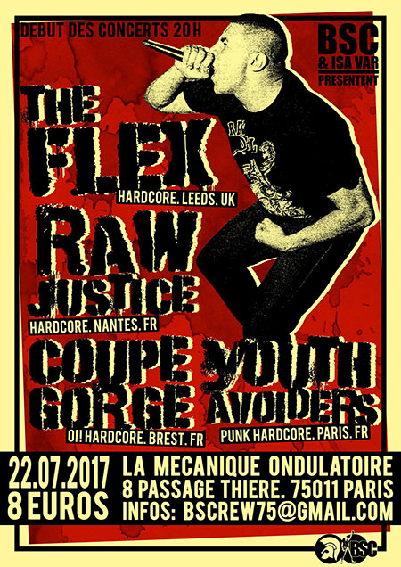 The Flex / Raw Justice / Coupe Gorge / Youth Avoiders le 22 juillet 2017 à Paris (75)