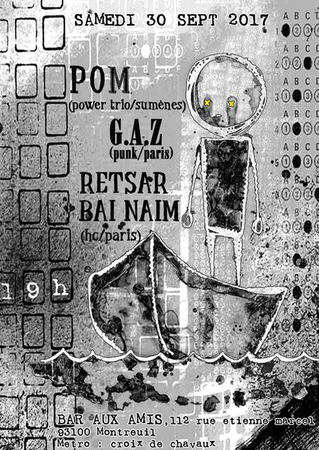 Concert GAZ samedi 30 septembre 2017 au Bar aux Amis (Montreuil - 93)