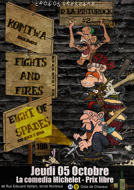 DLA PintOrocK#2 : Eight Of Spades/Fights and Fires/KOMTWA le 05/10/2017 à Montreuil (93)
