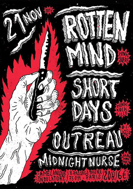 ROTTEN MIND (Suède) + SHORT DAYS + OUTREAU + MIDNIGHT NURSE le 21 novembre 2017 à Paris (75)
