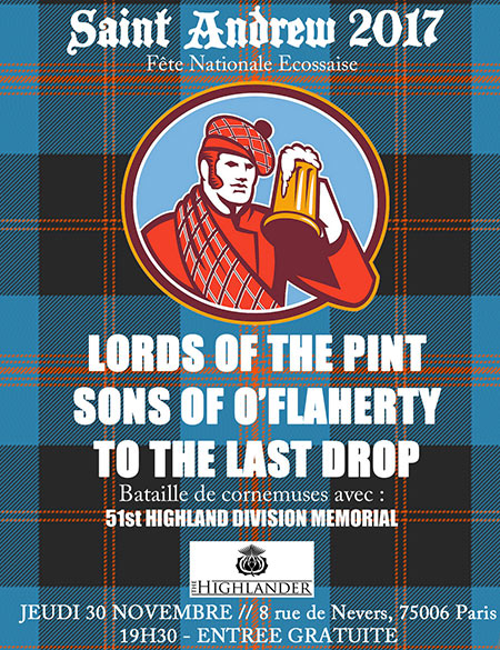 Sons Of O'Flaherty + Lords Of The Pint + To The Last Drop le 30 novembre 2017 à Paris (75)