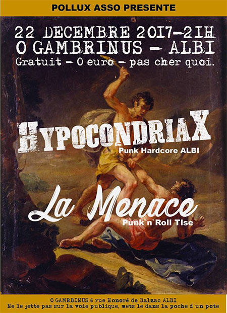 Punk X-MAS Party / Hypocondriax + La Menace le 22 décembre 2017 à Albi (81)