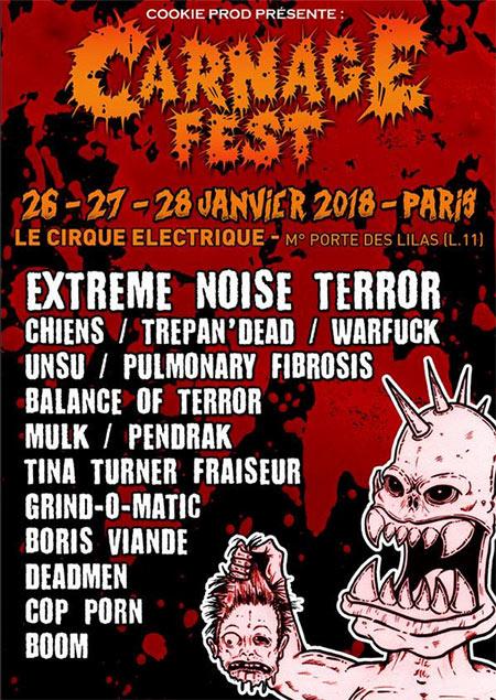 CARNAGE FEST 2 bis au Cirque Électrique le 26/01/2018 à Paris (75)