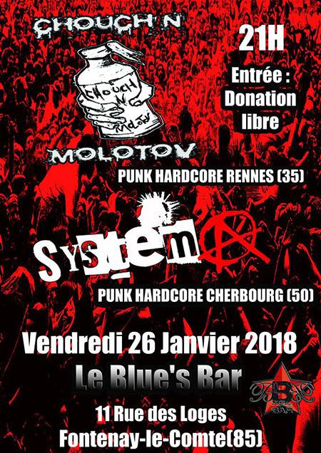 Concert System A + Chouch'n Molotov le 26/01/2018 à Fontenay-le-Comte (85)