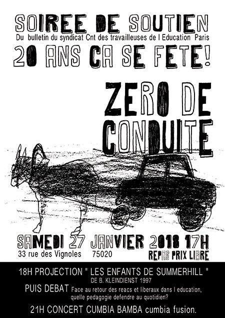 Fête Zéro de Conduite : projection/concert de Cumbia CNT STE75 le 27/01/2018 à Paris (75)