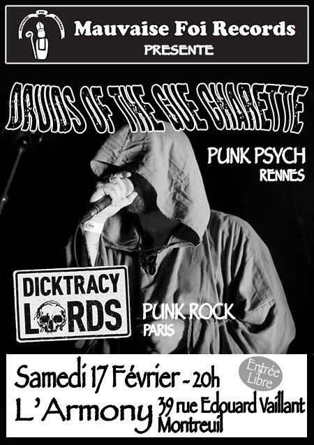 Druids Of The Gué Charette + Dicktracy Lords le 17 février 2018 à Montreuil (93)