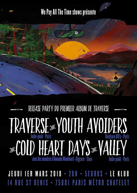 Traverse + Youth Avoiders + Cold Heart Days + Valley au Klub le 01 mars 2018 à Paris (75)