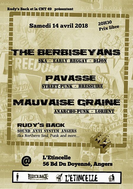 The Berbiseyans/Mauvaise Graine/Pavasse/SoundSystem Rudy's Back le 14 avril 2018 à Angers (49)