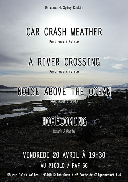 Concert Car Crash Weather - A River Crossing au Picolo le 20 avril 2018 à Saint-Ouen (93)