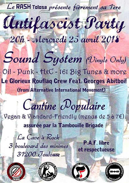 Sound System Antifascist & Cantine populaire le 25/04/2018 à Toulouse (31)