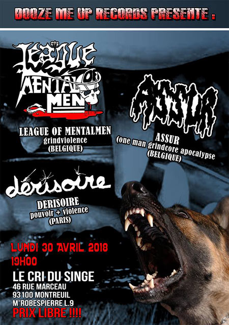 Concert League Of Mental Men - Assur au Cri du Singe le 30 avril 2018 à Montreuil (93)