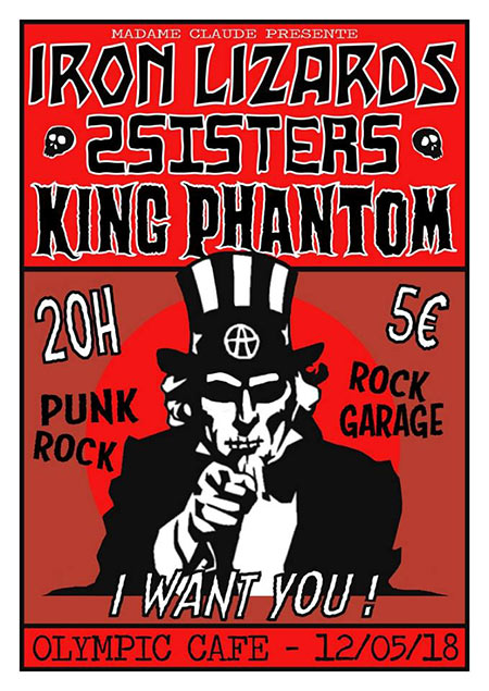 Iron Lizards, 2sisters, King Phantom à l'Olympic Café le 12 mai 2018 à Paris (75)
