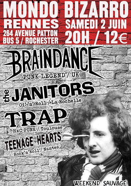 BRAINDANCE / JANITORS / TRAP / TEENAGE HEARTS le 02/06/2018 à Rennes (35)