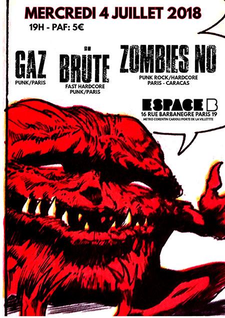 Concert GAZ mercredi 4 juillet 2018 à l'Espace B (Paris 19ème)