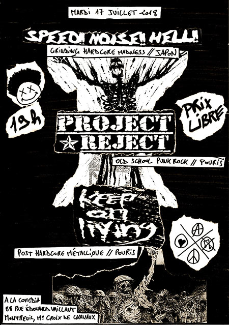 SPEED!! NOISE!! HELL!! // KEEP ON LIVING // PROJECT REJECT le 17 juillet 2018 à Montreuil (93)