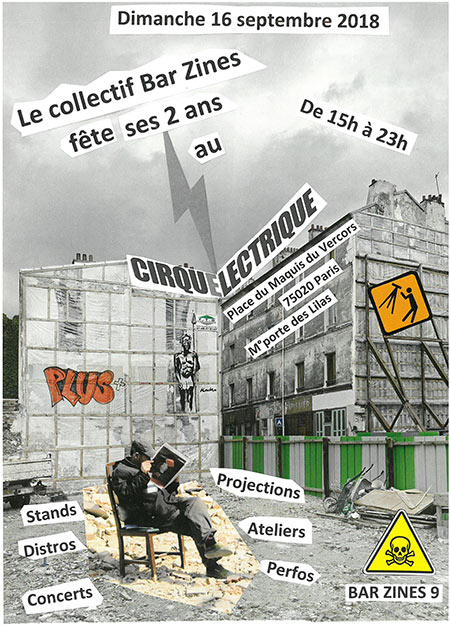 Bar Zines 9 au Cirque Électrique le 16 septembre 2018 à Paris (75)