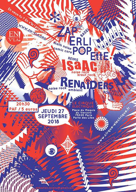 Zaperlipopette + ISaAC + Renaïders le 27/09/2018 à Paris (75)