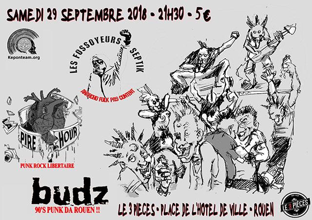 Concert Keponteam - Les Fossoyeurs Septik / La Pire Hour / Budz le 29/09/2018 à Rouen (76)