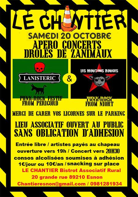 Soirée concert animaux bizarres au BAR Le Chantier le 20/10/2018 à Esnon (89)