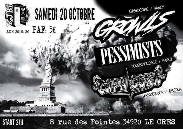 Growls / Pessimists / Capricorn le 20/10/2018 à Le Crès (34)