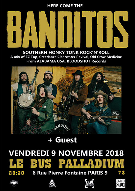 Banditos (rock'n'roll US - Bloodshot rcds) + guest le 09 novembre 2018 à Paris (75)