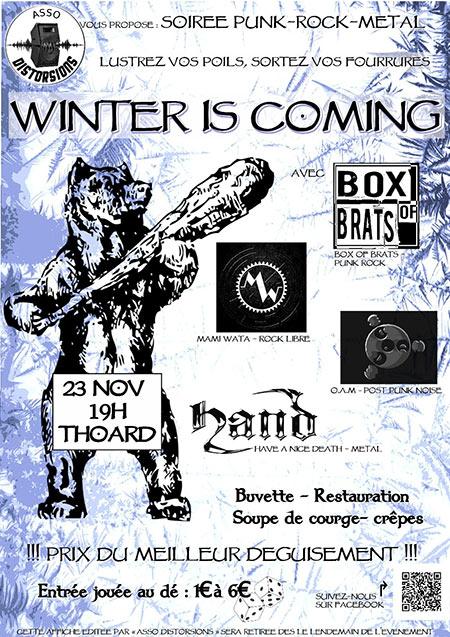 Winter is coming (Punk, Rock Metal) le 23/11/2018 à Thoard (04)