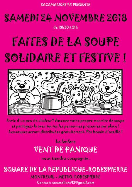 APÉRO-SOUPE SOLIDAIRE le 24/11/2018 à Montreuil (93)