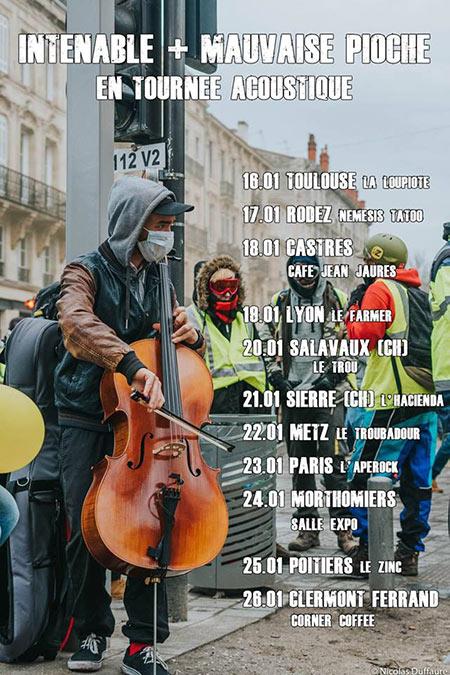 Intenable + Mauvaise Pioche - concert gratuit à l'Apérock le 23/01/2019 à Paris (75)
