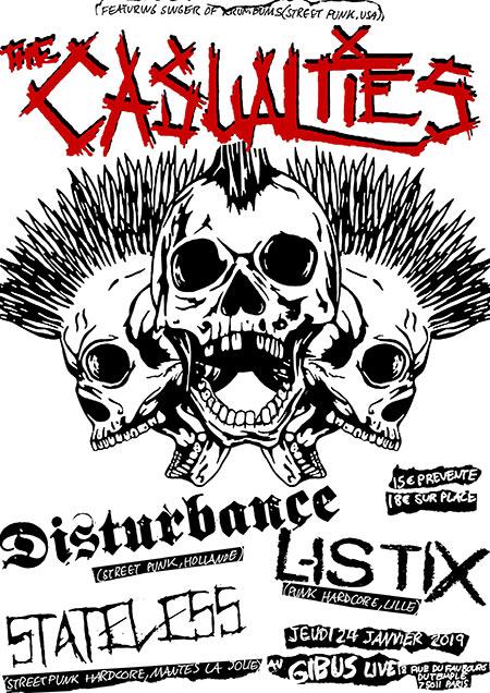 The Casualties + Disturbance + Listix + Stateless le 24/01/2019 à Paris (75)