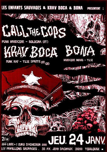 Call The Cops + Krav Boca + BONA aux Pavillons Sauvages le 24/01/2019 à Toulouse (31)