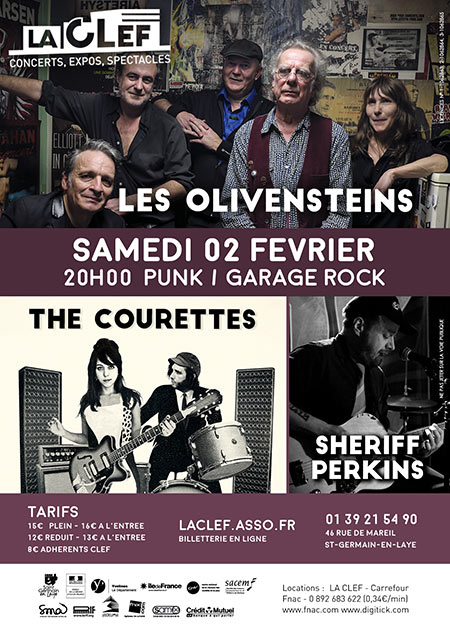 La CLEF: Les Olivensteins + The Courettes + Sheriff Perkins le 02 février 2019 à Saint-Germain-en-Laye (78)