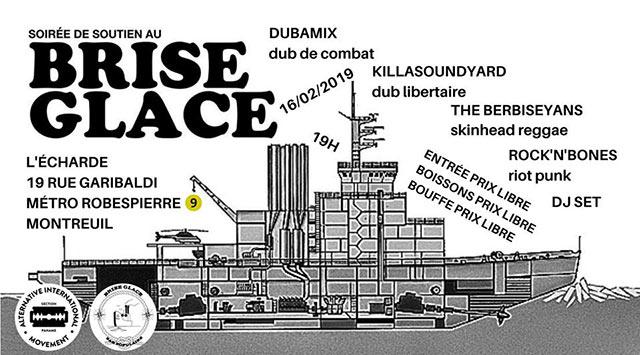 Concert de soutien au Brise Glace : Punk/Reggae/Dub le 16/02/2019 à Montreuil (93)