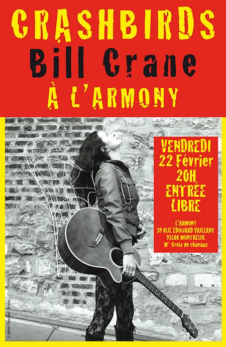 Crashbirds Bill Crane L'Armony entrée libre le 22/02/2019 à Montreuil (93)
