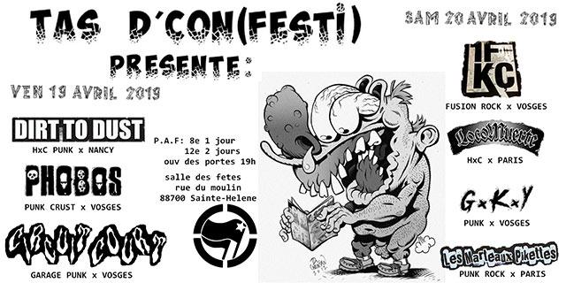 TAS D'CON(FESTI) à la Salle des Fêtes le 19/04/2019 à Sainte-Hélène (88)