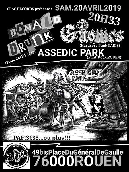 3 Gnomes / Donald Drunk / Assedic Park au 3 Pièces le 20/04/2019 à Rouen (76)