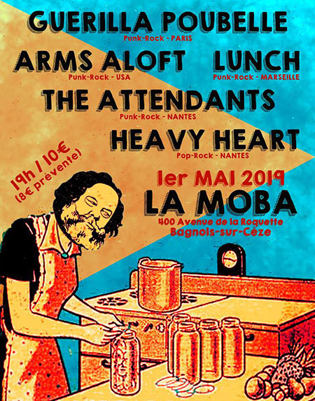 Guerilla Poubelle +Arms Aloft +Lunch +The Attendants à la Moba le 01 mai 2019 à Bagnols-sur-Cèze (30)