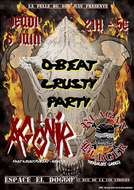 D-Beat Crusty Party : Agonir + Reagan Burger @ El Doggo le 06 juin 2019 à Limoges (87)