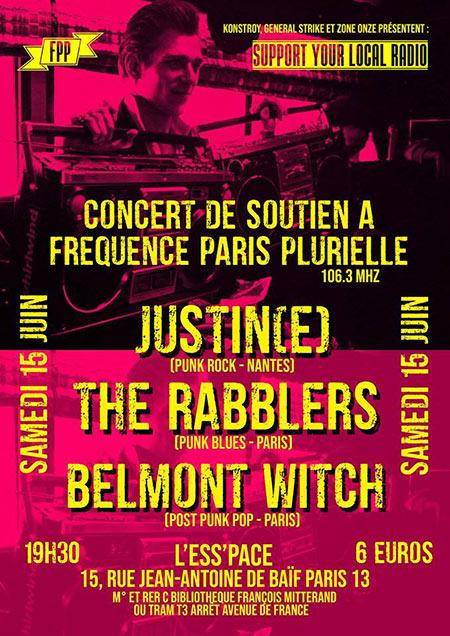 SOUTIEN À FPP AVEC JUSTIN(E), THE RABBLERS & BELMONT WITCH le 15 juin 2019 à Paris (75)