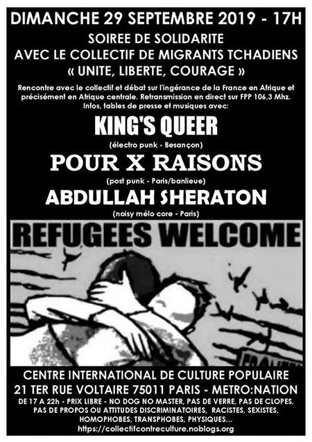 SOIRÉE DE SOLIDARITÉ AVEC LE 'COLLECTIF RÉGUGIÉS TCHADIENS' le 29/09/2019 à Paris (75)