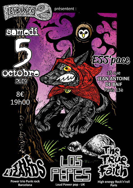 Les Barrocks (S35, ep8) : The Lizards, Los Pepes, thetruefaith le 05 octobre 2019 à Paris (75)