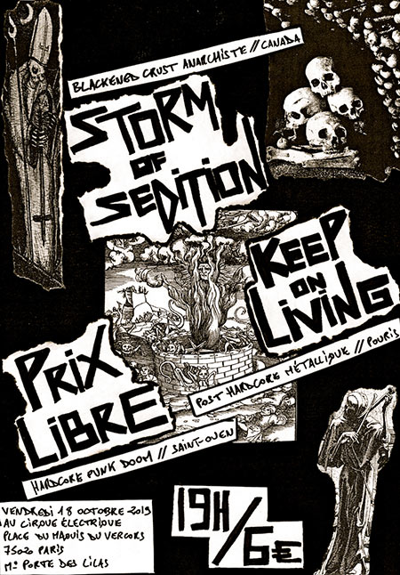STORM OF SEDITION / KEEP ON LIVING / PRIX LIBRE au Cirque le 18 octobre 2019 à Paris (75)