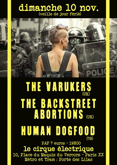 THE VARUKERS + THE BACKSTREET ABORTIONS + HUMAN DOG FOOD le 10 novembre 2019 à Paris (75)