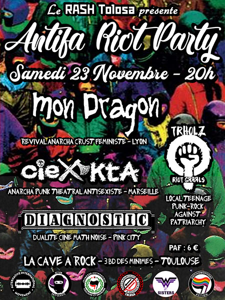 Antifa Riot Party - Mon Dragon / Cie Kta / Trholz / Diagnostic le 23 novembre 2019 à Toulouse (31)