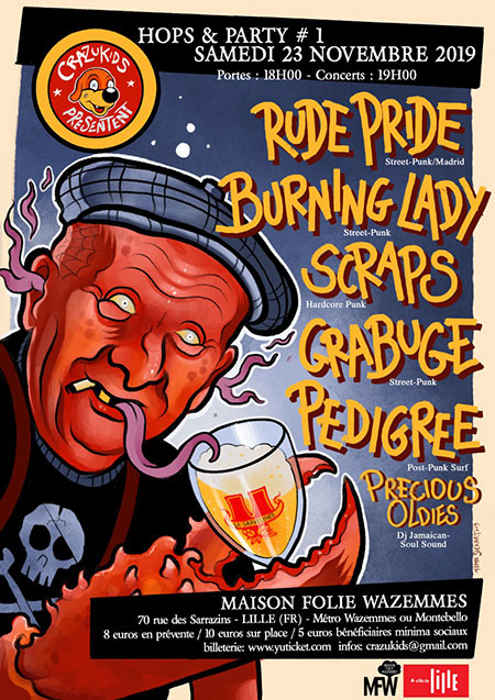 Rude Pride + Burning Lady + SCRAPS + Grabuge + Pedigree + DJ set le 23/11/2019 à Lille (59)